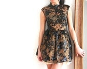 Mini Little Black Lace Dress with Tulle Underskirt and high neck detail