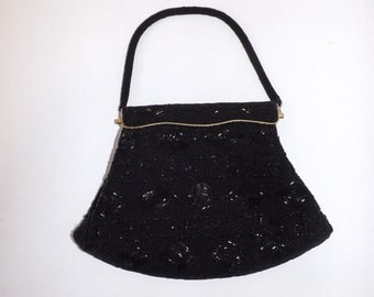 Vintage 50s black heavily beaded bead work hand evening handbag bag purse