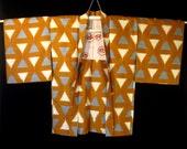 Vintage Mid Century Japanese Haori Coat - Rusty Pumpkin Meisen Silk Kimono w/ Kasuri Triangles.
