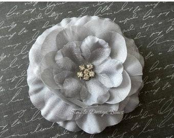 "ON SALE CLEARANCE Grey Hair Flower - Grey Flower Clip - 3"" Emma Flower - Hair Clip or Brooch - Rhinestone Flower - Hair Flowers"