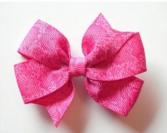 "ON SALE CLEARANCE Hot Pink Hair Bow - 3"" or 4"" Medium Pinwheel Hair Bow - Hot Pink Snakeskin Bow"