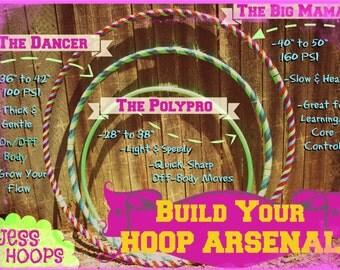 3 Hula Hoop PACKAGE - Beginner Hula Hoop, Dance Hula Hoop, Polypro Hula Hoop, Collapsible, Custom Colors,