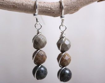 Stacked Wire Wrapped Earrings - Earthy Silver Leaf & Alpine Agate Beads