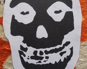 White Misfits Skull Sew On Patch