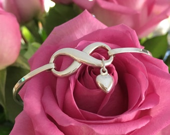 Infinity Bangle with Puff Heart Charm, Sterling Silver 925