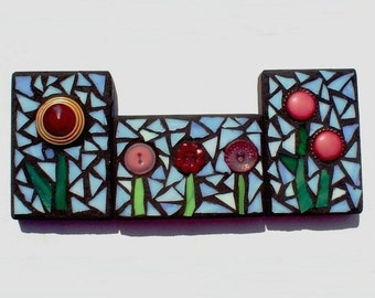 Set of Three Poppy ACEO Mixed Media Mosaics Pink Poppies Tryptich
