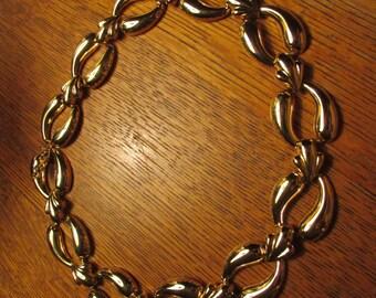 "Vintage 80's Gold Metal Link 18"" Necklace - 1980's Glam, Rad, retro"