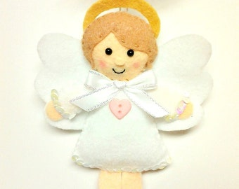 Felt Angel Ornament - Angel Christmas Ornament - White Angel - Christmas Gift