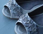 Downton Abbey Bridal Open toe Ballet Flats Wedding Shoes - All Full Sizes - Available in Ivory or White