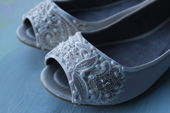 French Pleat Open Toe Ballet Flats Wedding Shoes - All Full Sizes - Available in Ivory or White