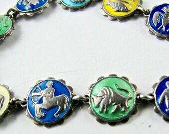 Rare Vintage Sterling Silver Enamel Einar Modahl Norway Zodiac Bracelet 925S Hallmarked Modernist Scandinavian