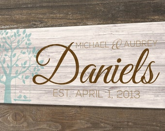 Wood Family Established Sign, Personalized Family Name Sign, Last Name Sign, Wedding  Anniversary Gift