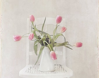Still Life Photography- Flower Photography, Bouquet of Tulips Print, Pink Tulips Photo, Floral Wall Art, Nursery Decor, Pink White Art
