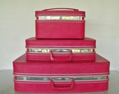 1960s PINK Samsonite Luggage Set with KEYS Fashionaire Vintage Retro
