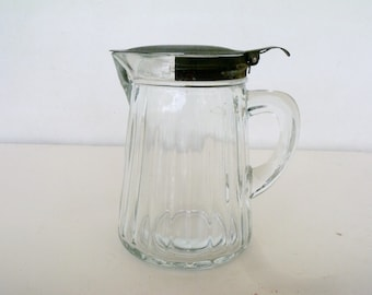 Antique Ribbed Glass Pitcher Hoosier Cabinet Steel Spring Lid Honey Syrup Cream