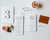 Rose Gold Program, Menu, Escort Card, Place card, Table Number