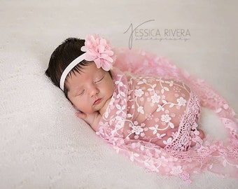 Lace Fringe Wrap: Pink, Purple or Blue with Chiffon and Lace Flower headband, newborn photo shoots, newborn wrap set, by Lil Miss Sweet Pea