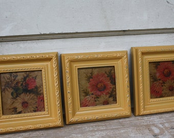 Painted Frames - Flowers - Wall Hangings - Set of Three - Distressed
