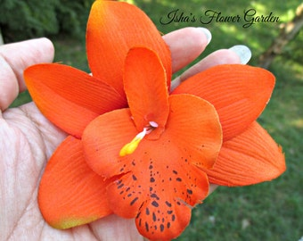 Orange orchid hair clip, realistic, orchid hair flower, tropical, cymbidium
