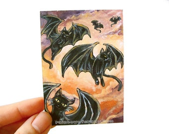 Clearance Sale: Black Cat Art, ACEO Print, Bat Wings, Halloween Decor, Flying Cats