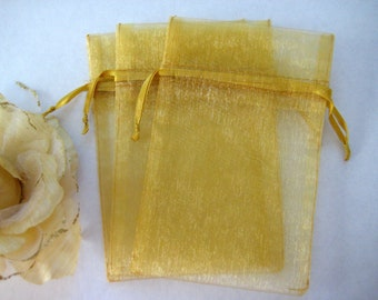 4 x 6 Gold Organza Bags for Party Favors, Baby Shower Favors, Gift Bags, Saches, Wedding Favor, Jewelry, 10 pcs