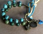 Acai Seeds Bracelet - boho, hippie, Spring, mermaid - handmade mermaid button, wrap bracelet, Summer, charms