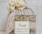 Small Champagne Gold Wedding Birdcage Card Box / Wedding Card Holder / Birdcage Card Holder / Custom Wedding Card Box