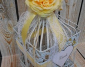 READY TO SHIP / Wedding Birdcage Card Holder / Wedding Card Box / Yellow and White Wedding Birdcage / Wedding Decor / Card Box