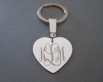 Personalized White Gold Laser Engraved Monogram Heart Keychain - 3 different pendant sizes