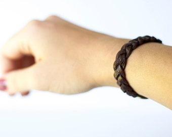 Braided Leather Bracelet / Cocoa Brown