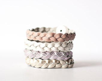 Braided Leather Bracelet Set / Victorian Tea Party