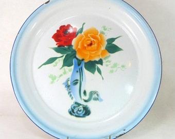 SALE! Art Deco Enamel Washbowl,Chinese Airbrushed Spritzdekor 'Bumper Harvest' Bowl Dish Basin Platter 1940s