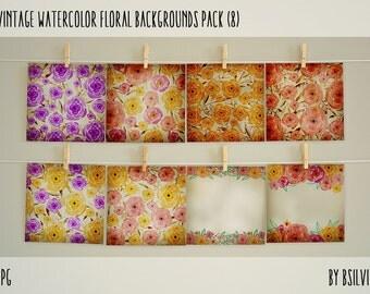Vintage Watercolor Papers Pack, Vintage Floral Watercolor Backgrounds, Vintage Watercolor Floral Digital Paper