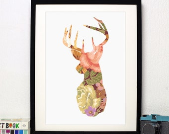 Floral Stag - Art Print