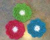 Set of 3 Flower Scrubbers / Flower  Scrubby / Dish Scrubbie Set of 3