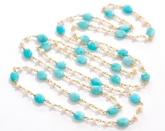 Amazonite & White Coral Long Necklace, Aqua and White stone necklace, Blue stone Jewelry,  Gold long Necklace
