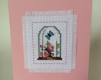 Cross Stitch Butterfly Flowers Glass Dome Globe Cloche Bell Jar All-Occasion Greeting Card