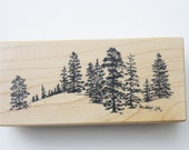 PSX  Forest Mountain treeline  #F1550 Wood mounted Nature pine trees spruce trees
