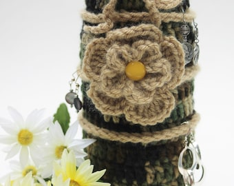Bottle cozy Earring storage display wine bottle bag Valentine day Camo green brown Flower Crochet