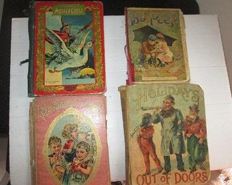 Four Antique Victorian Children's Books C 1900 Christmas Santa Holiday Bo Peep Mother Goose