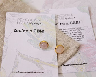 You're a Gem - Rose Quartz Stud Gemstone Earrings from the 'You're a Gem' Collection