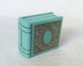 Art Deco Ring Box Blue Green Gilt Book Celluloid Wedding Band Jewelry Vintage Portland Oregon