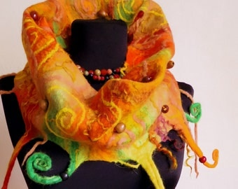 """The chameleon"""". Yellow, orange and green woollen cowl, neckwarmer, one-of-a-kind unique whimsical felt garment"""