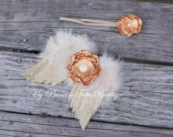 Newborn Golden Wings, Newborn Photo Props, Newborn Angel Wings, Newborn Flower Headband