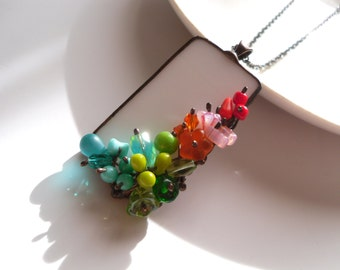 Gift for women, wire necklace, contemporary jewelryt, colorful necklace, bohemian jewelry, colorful beads