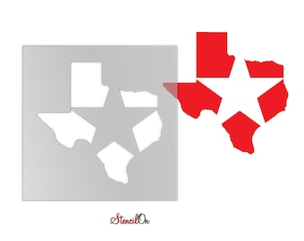 """Texas with Star Craft and Wall Stencil - Reusable Mylar - Sizes 4"""" to  21"""""""
