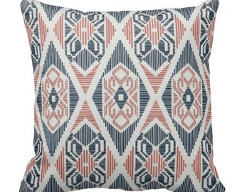 decorative pillows, toss pillows, accent pillows, couch pillow, pillow cover, navy coral pillow, tribal pillow, coral pillow cover, lumbars