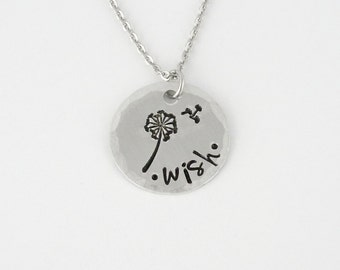 Wish Necklace with Dandelion - Hand Stamped Aluminum Inspirational Saying Jewelry - Handmade Charm Necklace, Flower Jewelry (N-0105A)