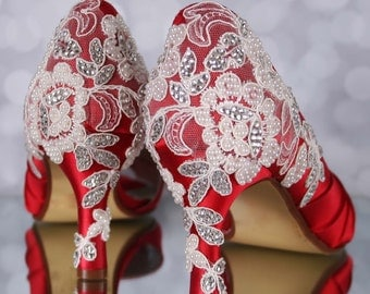 Red Wedding Shoes, Red Bridal Shoes, Lace Wedding Shoes, Wedding Bling, Wedding Accessories, Custom Wedding Shoes, Lace Wedding Accessories