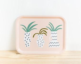 VASES TRAY - Tray by Depeapa, serving tray, memphis milano, illustration Depeapa, cactus and plants, geometric vases